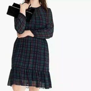 NWT J. Crew Cinched Waist Black Watch Plaid Dress